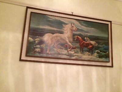 70's kitchlarge wall picture framed horses