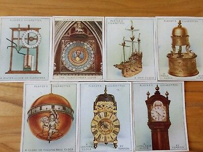 7 cards from players set of clocks old& new cigarette cards