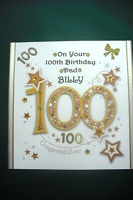 Handmade Personalised Mens Ladies 100th Birthday Card Any Relative Or Friend