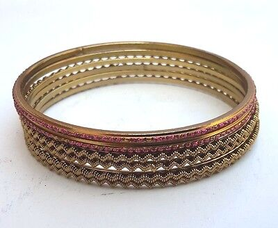 "Thai Gold Plated Brass Bracelet Old Diameter 2.4 "" Handcraft With Colorful Beads"