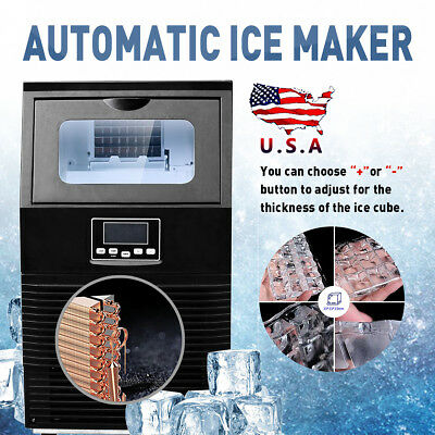 Commercial Snow Flake Ice Maker Making Machine 38KG/24h Black Stainless steel