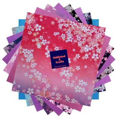 60pcs Sakura Cherry Blossom Double Sided Chiyogami JAPANESE ORIGAMI PAPER 15cm