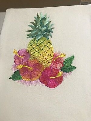 Embroidered Tea Towel Tropical Flowers With Pineapple