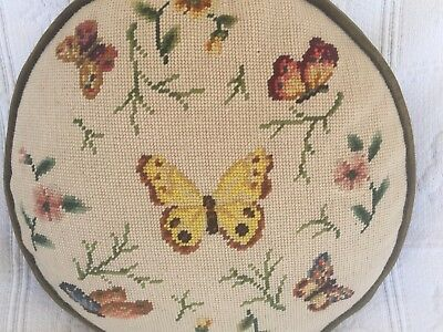 VINTAGE BUTTERFLY FLORAL NEEDLEPOINT ROUND PILLOW rare