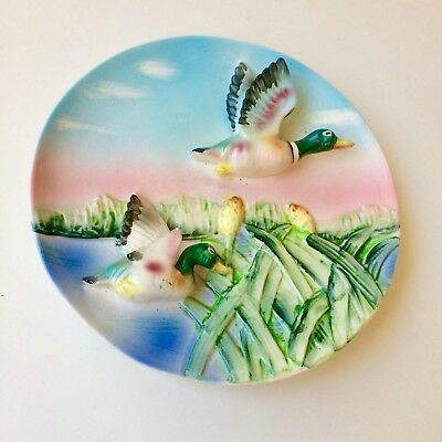 Vintage Flying Ducks 3D Wall Hanging Plate - 1950's