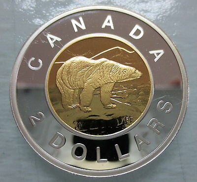 2008 Canada Toonie Proof Silver With Gold Plated Heavy Cameo Two Dollar Coin