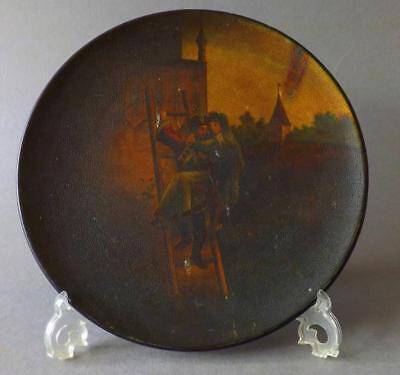 Antique Russian Lacquered Hand Painted Plaque By Vishniakov