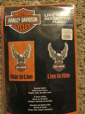 NEW in package double sided HARLEY DAVIDSON Live To Ride decorative flag $30.99