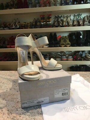 Jimmy Choo Preowned 35.5 Patent Off White Heels With Box Originally $525