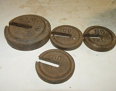 Estate Antique Vintage Lot Of Country Store Pharmacy Cast Iron Scale Weights