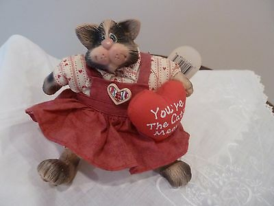 """RUSS AMRAM'S Vintage Soft Toy Stuffed Cat """"YOU'RE THE CAT'S MEOW"""" Figurine"""