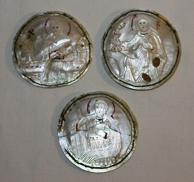 Three Medallion Religious Sculpture Carved Mother Of Pearl - 19Th Century