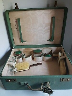 Vintage Army Green Suitcase with Hairbrush and Travel Accessories Travel Case
