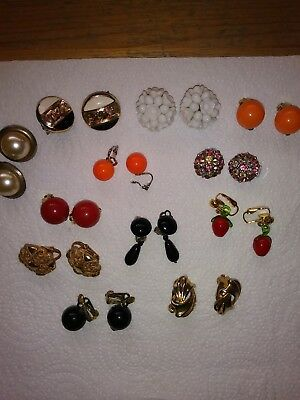 Vintage Costume Jewellery. Job lot  of 12 Pairs of Vintage Clip On Earrings