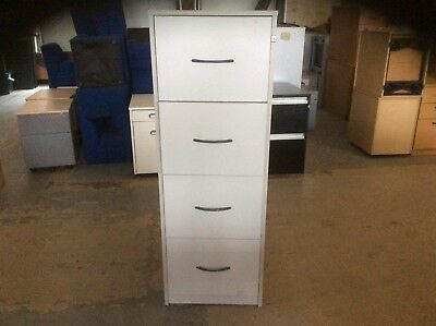 Grey Wood Four Drawer Filing Cabinet