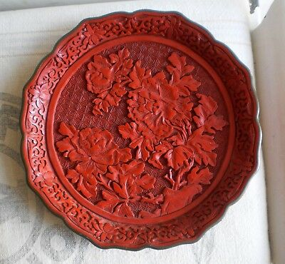Vintage Chinese Cinnabar Lacquer Carved Plate Chrysanthemum