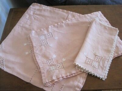 Vintage Pink Linen Small Embroidered Tablecloth, Napkins And Place Mats