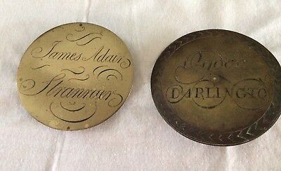 Two Brass Longcase Dial Plaques