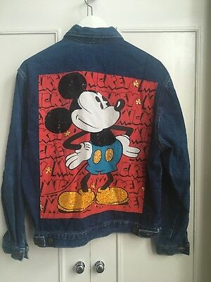 Vintage Micky Mouse Denim Jacket US 90's Oversized Unisex S-M Blue Sequin Disney