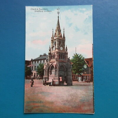 Old  Postcard of  Clock and Fountain, Stratford-on-Avon.