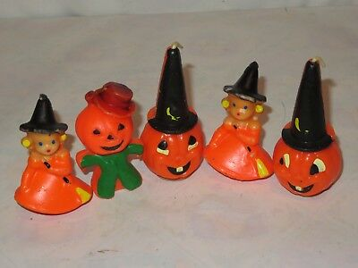 Halloween GURLEY Candle Lot Vintage Witch Scarecrow JOL Pumpkin (m500)