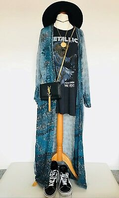 Vtg Kimono Blue Beach Cover Up Boho Hippy Floral Ibiza Topshop Rat & Boa Unique