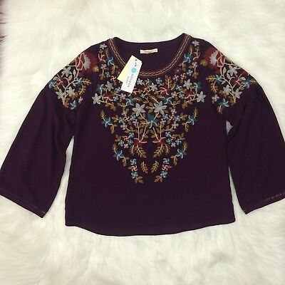 NWT Stitch Fix Skies Are Blue Floral Embroidered Blouse Size Petite XS Purple