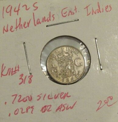 East Indie/neder  1942 S Silver Coin 1/10 G   A/u Coin  - Free Shipping !
