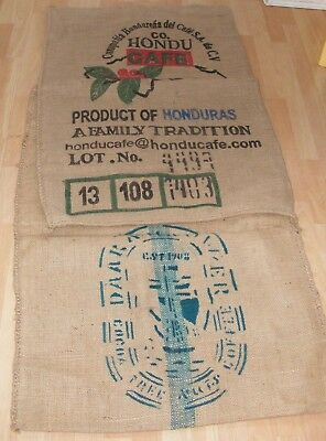 2 Large Coffee Sacks Hessian Honduras And Indonesia, Furniture Cushions Framed