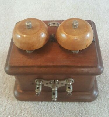 """RARE early 1900s  """" Wood Bells"""" Walnut Telephone Subset Ringer"""