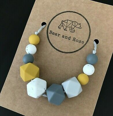 Mustard Grey -Teething Necklace, Silicone Nursing/Sensory Jewellery, BPA Free