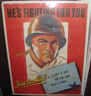 "Original US Gov't Printing Office 1943, ""He's Fighting for You"" Poster"