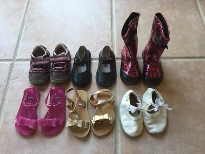 Lot of 6 Pairs of Toddler Girls Shoes Sandals Hiking Sz 5 Robeez Gymboree