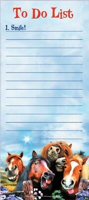 """LEANIN TREE """"To Do List"""" 1. Smile Horses Selfie~Magnetic List Note Pad~#61737"""
