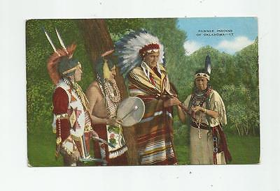 Vintage Pawnee Indians Of Oklahoma Ok Postcard Chief Squaw Braves Headdress
