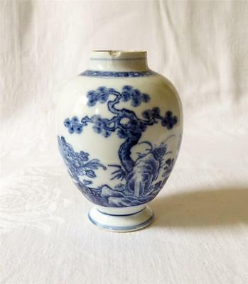 Antique Mid 18Th Century Chinese Blue And White Porcelain Tea Caddy