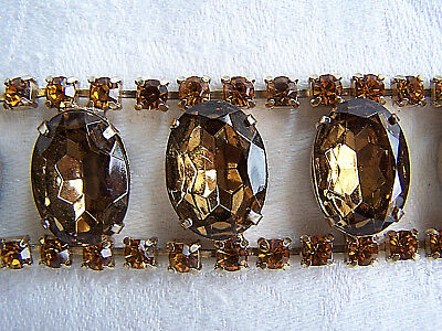 Vintage Gold and Amber Colored Rhinestone Bracelet