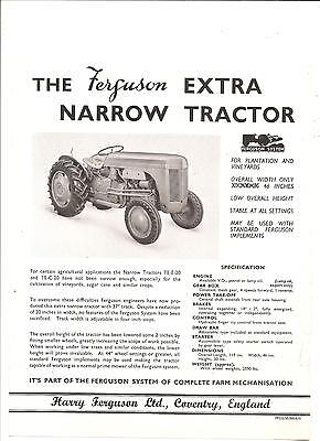 Ferguson Vineyard Tractor Brochure ............... Original Extra Narrow Leaflet