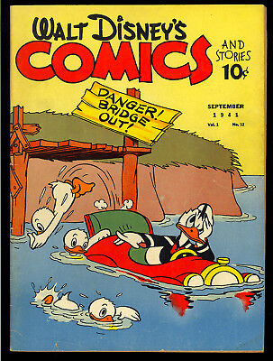Walt Disney's Comics & Stories #12 (Missing One Page) o/w Nice Dell 1941 VG-*