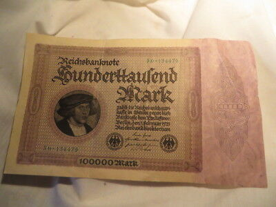 1923 100000 Mark Germany vintage paper money banknote currency antique bill