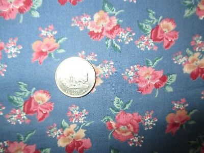 COUNTRY GIRL Vintage RED PINK FLOWERS On BLUE 1980's COTTON Fabric-over 1 yd