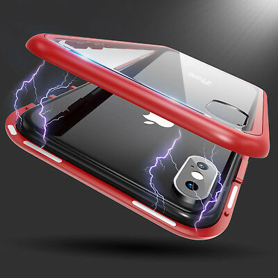 Magnetic Adsorption Hard Clear Case for iPhone X 6 7 8 Plus Tempered Glass Cover
