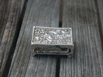 Antique Victorian Hm 1898 Sterling Silver Match Box Holder With Ball Feet