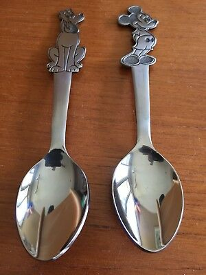 Set of 2 Walt Disney Stainless by Bonny Mickey Mouse & Pluto Spoon Made in Japan