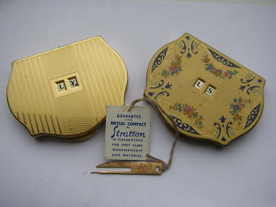 Vintage Powder Compact Stratton Compact In Hand X2 With Initial Changer