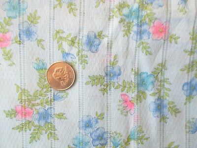 DELICATE Vintage PINK BLUE FLOWERS On BLUE 1970's Sheer COTTON Fabric-over 1 yd