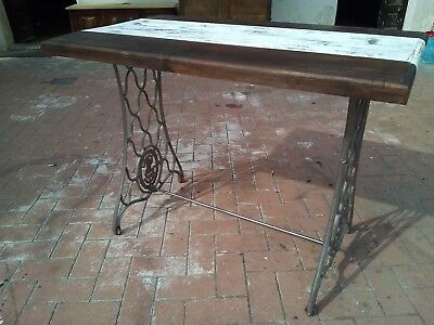 tavolo industriale gambe in ghisa singer plancia shabby chic vintage 900