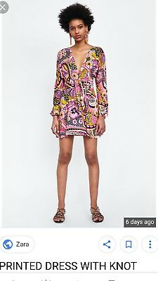 ZARA printed dress with knot - Small (UK8) - BNWT SOLD OUT S/S 2018 - 70s - pink
