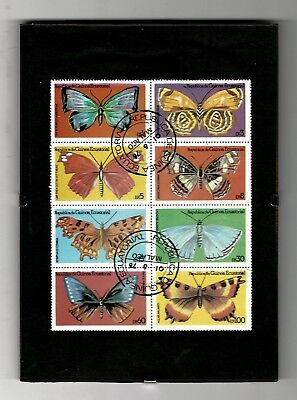 Set of 8 Stamps BUTTERFLIES - Republic of Equatorial Guinea - in Clip-on frame