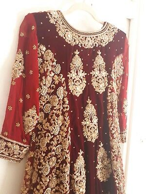 Red Gold Velvet Indian Embroidered Wedding Dress Abaya Train No Dupatta rrp£1800
